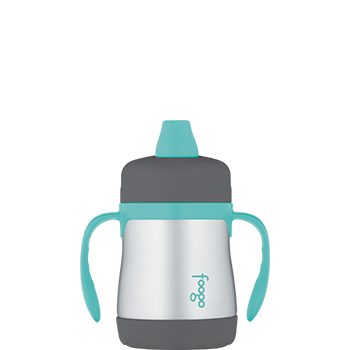 Charcoal and Teal Foogo® Vacuum Insulated Soft Spout Sippy Cup
