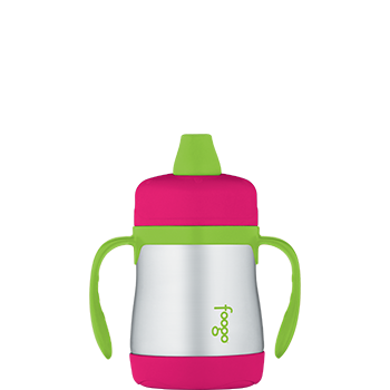 Watermelon and Green Foogo® Vacuum Insulated Soft Spout Sippy Cup